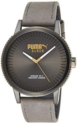 PUMA Unisex Erwachsene Analog Quarz Smart Watch Armbanduhr mit Leder Armband PU104101008