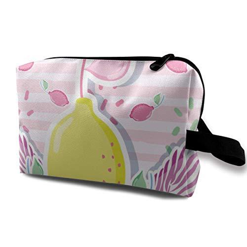 Bunte Zitronen-, Palmen- und Schildkrötenblätter-Kosmetiktaschen Kleine Make-up-Clutch-Tasche Kosmetik- und Toilettenartikel-Organizer-Tasche