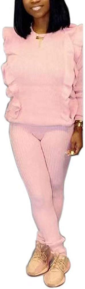 Women Two Piece Outfits Long Sleeve Ruffle Pullover and High Waisted Pants Set Clubwear Party Night Jumpsuit