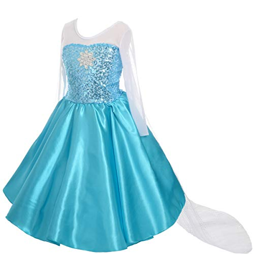 Lito Angels Mädchen Eiskönigin Prinzessin ELSA Kleid Kostüm Weihnachten Halloween Party Verkleidung Karneval Cosplay Kinder 2-3 Jahre A