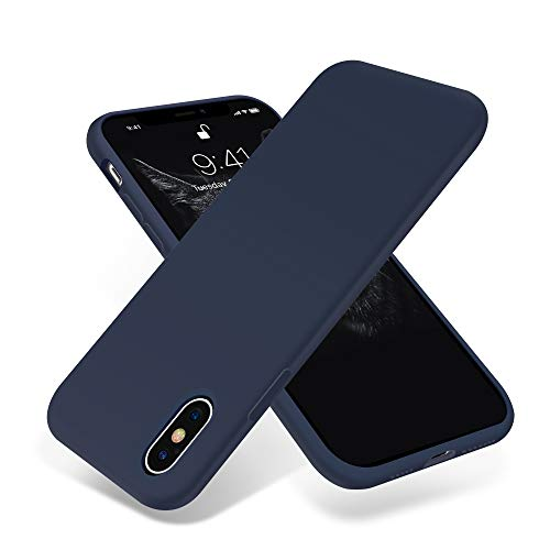 for iPhone Xs Max Case,OTOFLY[Silky and Soft Touch Series] Premium Soft Silicone Rubber Full-Body Protective Bumper Case Compatible with Apple iPhone Xs Max 6.5 inch - (Midnight Blue)