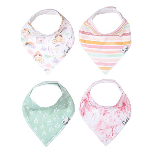 """Baby Bandana Drool Bibs for Drooling and Teething 4 Pack Gift Set for Girls """"Enchanted"""" by Copper Pearl"""