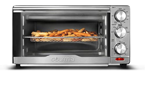 Gourmia GTF7350 6-in-1 Multi-function, Stainless Steel Air Fryer Oven - 6 Cooking Functions - Fry Basket, Oven Rack, Baking Pan & Crumb Tray, Included + Recipe Book