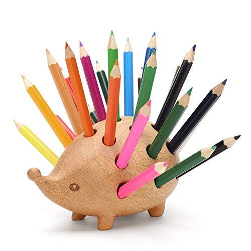 CHUJIAN - Portalápices de Madera Creativo con Forma de Erizo pequeño con lápiz (Juego de 24), Buen Regalo para tu Familia o Amigos