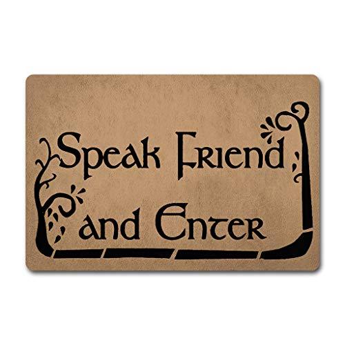ZQH Paillasson d'entrée avec inscription « Speak Friend and Enter » Le Seigneur des Anneaux (23,6 x 49,9 cm) en tissu non tissé avec un dos en caoutchouc antidérapant lavable