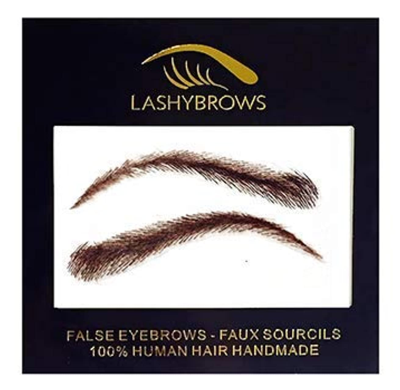 False Eyebrows, Lashybrows 100% Handmade Human Hair Re-Usable [Up to 3 Months] Silicone Base ANGELINA Fake Eyebrows