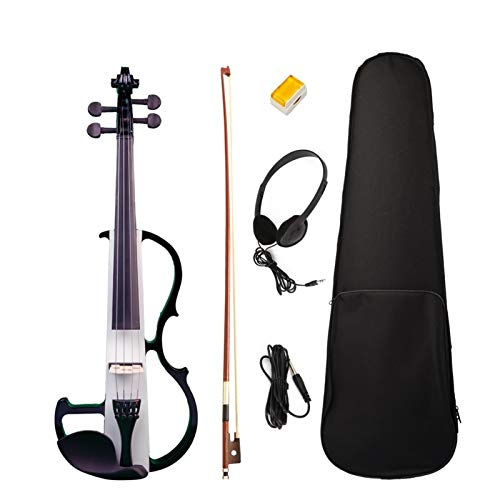 4/4 Elektro Violine Massivholz Ahorn Black & White Silent Full Size Violine W/Bow Hard Case Kopfhörerkabel Kolophonium New Set ACDES