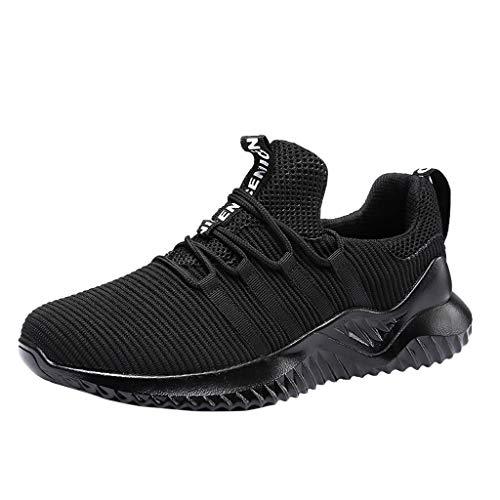Zapatos para Correr Gimnasio Sneakers,JiaMeng Zapatillas Deportivas Planas Transpirables y Ligeras para Caminar para Hombre Aire Libre y Deporte