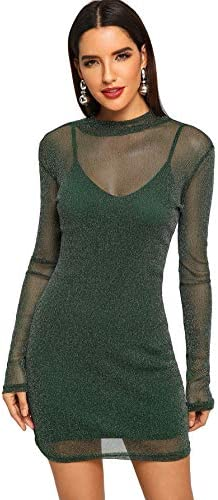 Floerns Women s Long Sleeve Cami and Mesh Two Piece Mini Bodycon Dress Green S product image