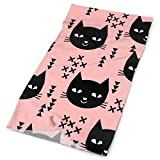 Cat Head Pink Black Sweet Kitten Kitty Cats Girls Headbands Bandana Cap Scarf Face Mask Neck Gaiter Headwrap Sun UV Protection