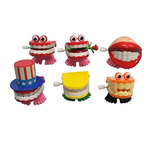 STOBOK 6 Stücke Zähne Spielzeug Aufziehspielzeug Aufziehfigur Wind Up Figur Geburtstag Geschenk für Baby Kinder (Zufällige Farbe)