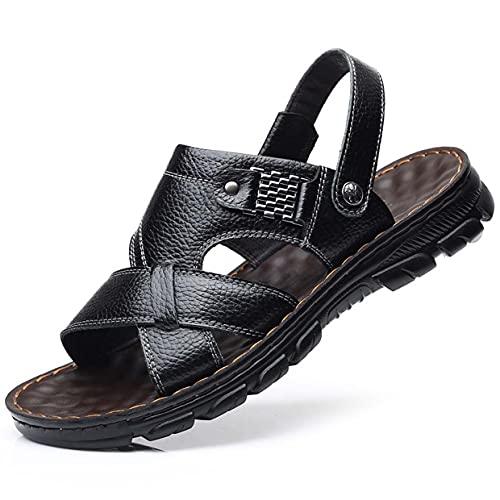 MARLU Men Leather Sandals Open Toe for Outdoor Hiking Walking Beach Sports Fisherman Strap Sandal   Summer Waterproof Handmade Flip Flops Slide, Lightweight Fashion Daily Flat Slippers,Black,42