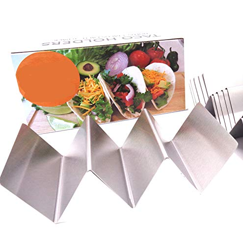 6 Pack Taco Holder - Taco Holders, Stainless Steel with a Free Recipe Ides Brochure - Taco Stand Up Holder - Taco Stand - Holds 3 Tacos - Dishwasher, Oven and Grill Safe (6 Pack without handles))