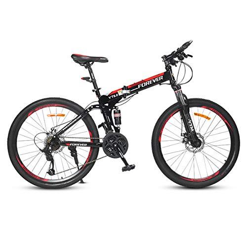Dapang Suspensión Total Plegable Bicicleta de montaña, Trail & Mountains, Negro, Marco de suspensión Total de Aluminio, Cambios de Giro a través de 24 velocidades,2,24speed