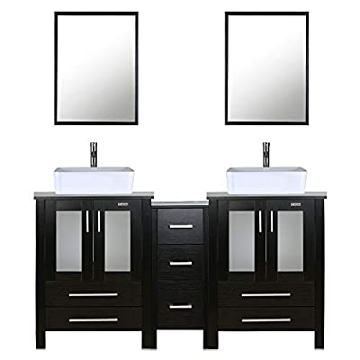 """60"""" Double Vanity (2 24"""" Vanity,2 Porcelain Vessel Basin Sink,1 12"""" Side Cabinets),Double Bathroom Vanity Top with Porcelain White Sink,1.5 GPM Faucet/Drain Parts/Mirror Includes"""
