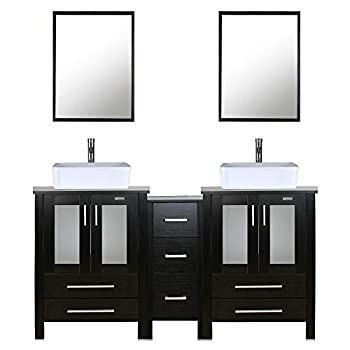 60  Double Vanity  2 24  Vanity,2 Porcelain Vessel Basin Sink,1 12  Side Cabinets ,Double Bathroom Vanity Top with Porcelain White Sink,1.5 GPM Faucet/Drain Parts/Mirror Includes