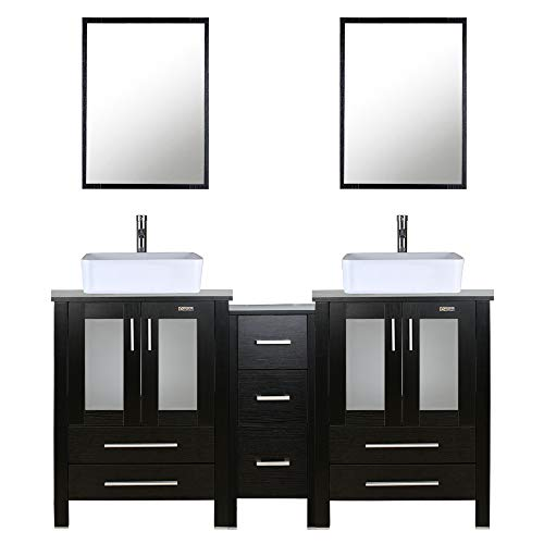 60' Double Vanity (2 24' Vanity,2 Porcelain Vessel Basin Sink,1 12' Side Cabinets),Double Bathroom Vanity Top with Porcelain White Sink,1.5 GPM Faucet/Drain Parts/Mirror Includes
