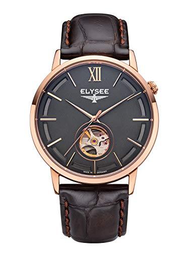 Elysee Unisex volwassene analoog automatisch horloge met lederen armband 77012B