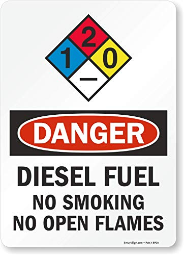 "SmartSign ""Danger - Diesel Fuel, No Smoking No Open Flames"" NFPA Label 