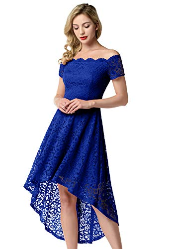 Aupuls Damen Elegant Spitzenkleider Vokuhila Schulterfrei Ballkleid Abendkleid Hochzeit Cocktailkleider Royalblau M
