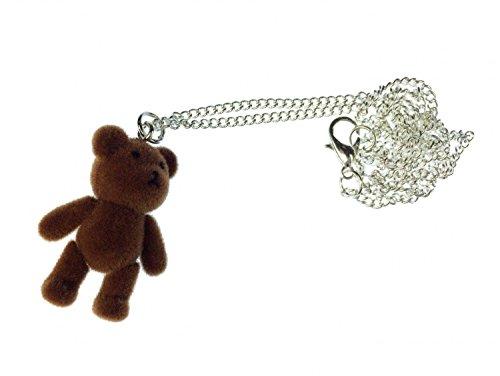 Miniblings Teddy Bär Kette Halskette Bärchen Kette 45cm Silber Teddy Flock Dunkelbraun