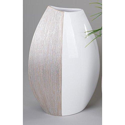 formano Vase, Dekovase Champagner H. 45cm Keramik weiß beige glasiert
