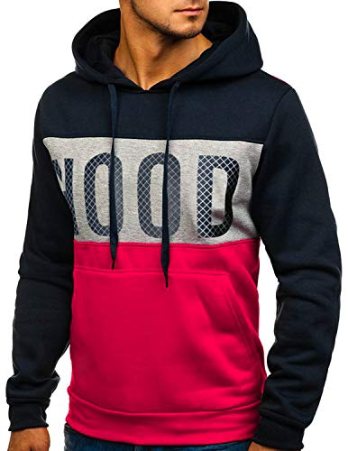 GNRSPTY Hombre Sudadera con Capucha Colores de Contraste Camiseta Manga Larga Otoño Hoodie Pullover Sweatshirt,Azul Marino,M