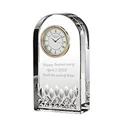 Waterford Lismore Essence Crystal Desk Clock Personalized, Custom Engraved Glass Clock