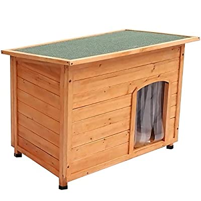 The Fellie Dog House, Outdoor Dog House Wooden Pet House Puppy House with PVC Door WarmieHomy(116 * 79 * 81cm) from The Fellie