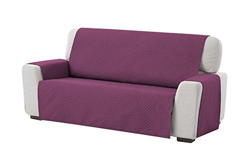 Textilhome - Funda Cubre Sofá Adele, 3 Plazas, Protector para Sofás Acolchado Reversible. Color Malva