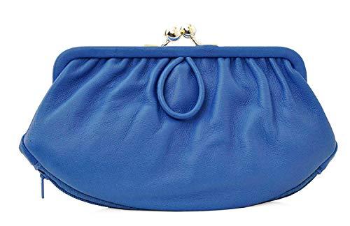 Charmoni - Camelia - Porte-Monnaie Clic-Clac Rétro - Fermeture éclair - Cuir d'agneau - 2 Compartiments + Double Fermoir pour pièces - 17 cm x 12 cm x 2 cm - pour Femme (Bleu Roi)