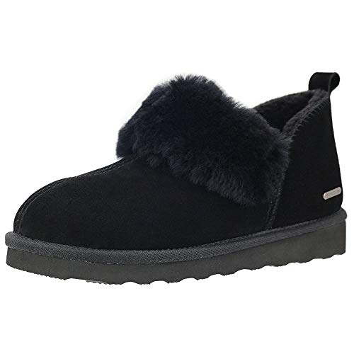 PAMIR Women's Genuine Suede Shearling Ankle Moccasin Booties Slippers Boots Memory Foam Indoor Outdoor Black 9 M US