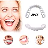 SDJIEMN 3 Pairs Cosmetic Veneer Teeth Denture Snap on Instant Perfect Smile Comfort Fit Flex Teeth Veneers, Upper Braces + Lower Braces,1pair