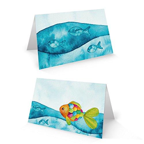 25 kleine blau türkise maritime BUNTER FISCH Tischkarten Namenschilder Namenskärtchen zur Taufe Kommunion Geburtstag Kinder Schulanfang REGENBOGENFISCH – mit JEDEM Stift beschreibbar!
