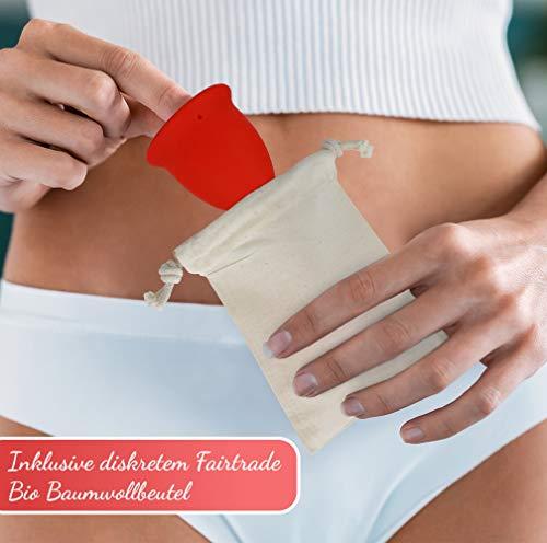 AvaLoona Menstruationstasse Doppelpack aus medizinischem Silikon mit Beutel (groß, Erdbeere, 2 Menstruationskappen) - 5