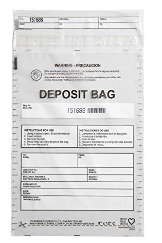 """USPACKSMART Deposit Bags for Cash Handling or Bank Deposits 9""""x12"""" 100-Pack Clear Ref 1208-00"""