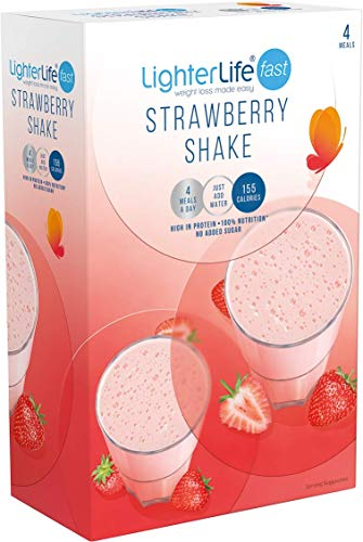 LighterLife Fast Strawberry Shake, Gluten Free, High Protein Powder Meal Replacement, 4 x 40g Servings per Box