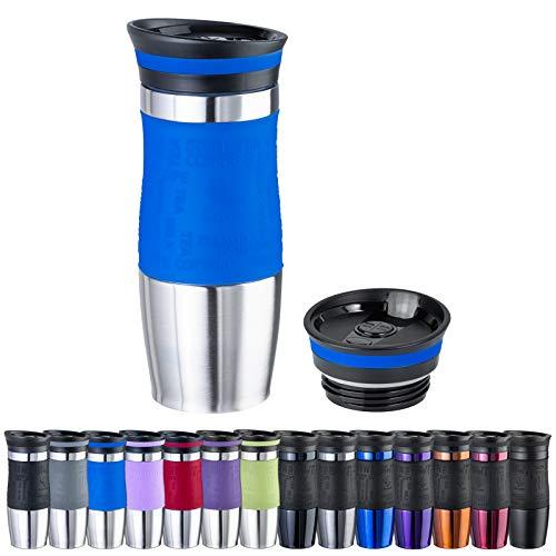 WELLGRO Thermobecher 400 ml + 1 Extradeckel - Edelstahl rostfrei - Silikon Soft-Touch Griffstück - BPA-frei - Isolierbecher doppelwandig - Travel Mug - Kaffeebecher to go, Farbe:Blau