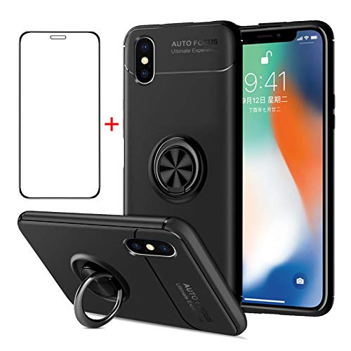 AKABEILA iPhone XS Hülle Panzerglas, iPhone X Handyhülle Silikon, kompatibel für Apple iPhone XS/X Schutzhülle Schutzfolie Telefonhalter Stoßfest Ring Griff Ständer, Schwarz