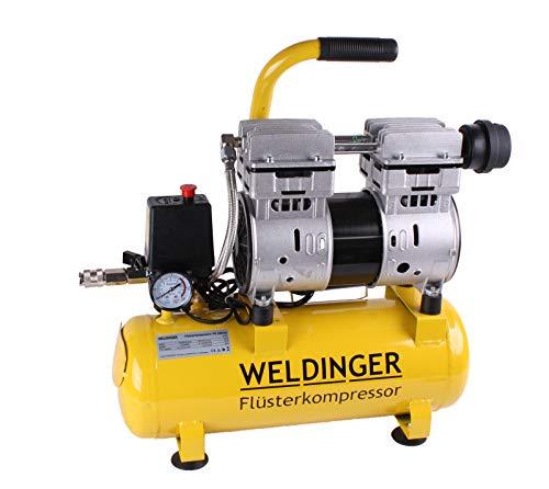 WELDINGER Flüsterkompressor FK 60 plus ölfrei 750 W Luftabgabe 90 l (Druckluftkompressor) 5 Jahre Garantie