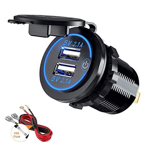 Thlevel Auto USB Ladegerät KFZ USB Steckdose 5V 4.2A Schnellladung mit LED Anzeige, wasserdichte und Staubdicht, für 12V~24V Fahrzeuge KFZ Boot Motorrad SUV Bus LKW Wohnwagen Marine (Blau)