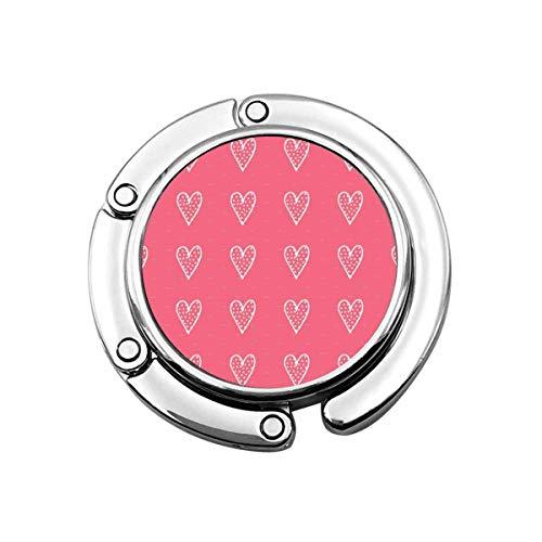 Portavasos plegable de corazones blancos en rosas, gancho para bolso de mesa