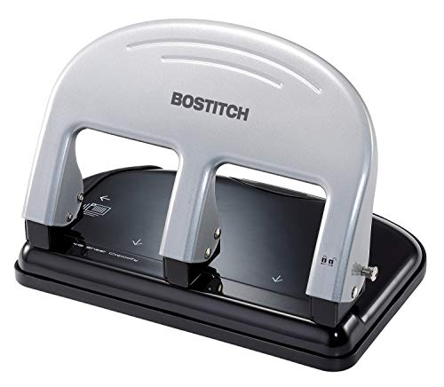 Bostitch Office PaperPro inPRESS 40 Reduced Effort 3-Hole Punch, 40 Sheets, Silver (2240)