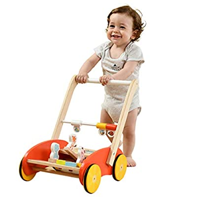 labebe-Baby Push and Pull Toy, Infant Multi-Activity Learning Walker, Sit to Stand Wooden Walker for Children 1 Year Old and Up, Toddler Red Push Walking Cart with Wheels for Boys & Girls