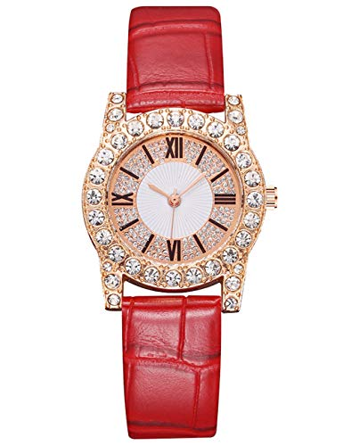 Relojes para Mujer Resistente Término Análogo Reloj de Pulsera de Diamante Bling Fecha Relojes Moda Cuarzo Analógicos Diseño Casual para Niñas Rojo