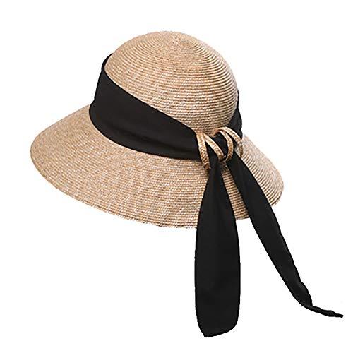 ZHIPENG Sombrero para El Sol, Protector Solar Portátil, Lado Ancho, Material De Paja, Protección UV, Fácil Caminata En El Parque Al Aire Libre - Adecuado para Regalos De Damas