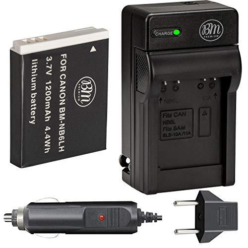 BM Premium NB-6L, NB-6LH Battery and Charger for Canon PowerShot S120, SX170 is, SX260, SX280, SX500, SX510, SX520, SX530 HS, SX540 HS, SX600 HS, SX610, SX700, SX710, ELPH 500, D10, D20, D30 Cameras