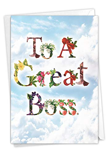 The Best Card Thanks A Bunch - Bosss Day Greeting Card with Envelope (4.63 x 6.75 Inch) With flower-filled fonts to wish the boss the best C2359ABOG