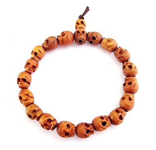 OVALBUY Wood Skull Beads Buddhist Prayer Wrist Mala Bracelet