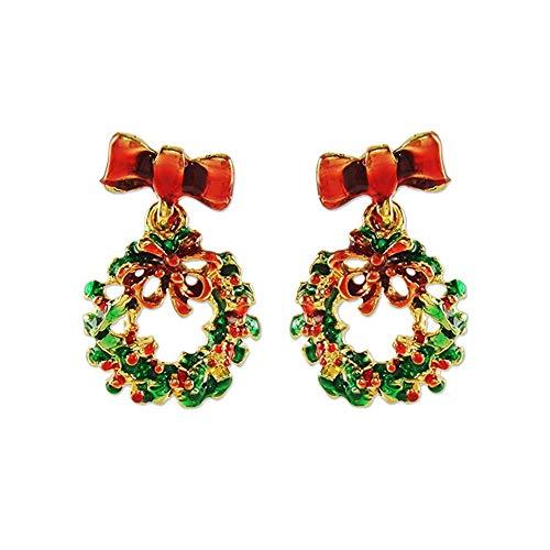 Christmas Wreath Earrings for Women Girls Dangle Christmas Earrings Xmas Party Favors Christmas Decorations Supplies